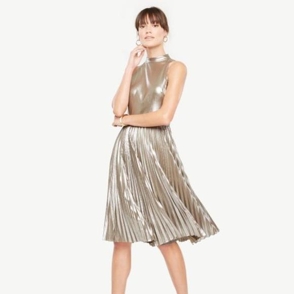 d347fd1401074 Ann Taylor Petite Shimmer Chiffon Pleated Dress